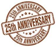 25th anniversary brown stamp. 25th anniversary brown grunge round stamp isolated on white background Stock Photos