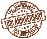 10th anniversary brown stamp. 10th anniversary brown grunge round stamp isolated on white background Stock Photo