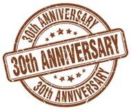 30th anniversary brown stamp. 30th anniversary brown grunge round stamp isolated on white background Royalty Free Stock Photos