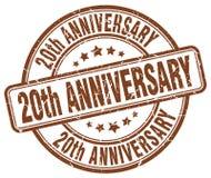 20th anniversary brown stamp. 20th anniversary brown grunge round stamp isolated on white background Stock Photography