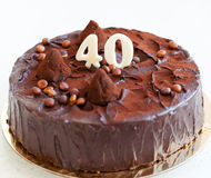 40th anniversary cake. Decorated chocolate cake on the fortieth anniversary Royalty Free Stock Image