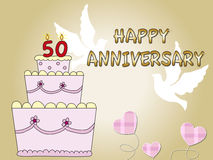 50 th anniversary. Card for 50th anniversary with big cake and dove Royalty Free Stock Image