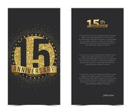 15th anniversary card with gold elements. Vector illustration stock illustration