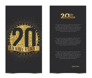20th anniversary card with gold elements. Vector illustration Stock Photography