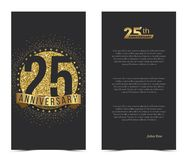 25th anniversary card with gold elements. Vector illustration Royalty Free Stock Photos