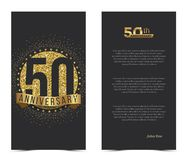 50th anniversary card with gold elements. Vector illustration Royalty Free Stock Photos