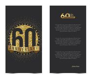 60th anniversary card with gold elements. Vector illustration Royalty Free Stock Photography