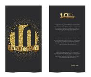 10th anniversary card with gold elements. Vector illustration Royalty Free Stock Photo