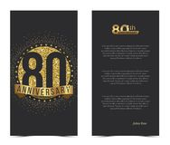 80th anniversary card with gold elements. Vector illustration vector illustration