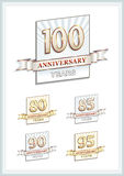 100th anniversary. Celebrating anniversaries. A set of isolated signs with decorative ribbon Stock Photos