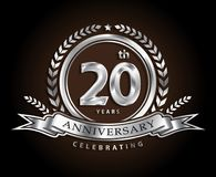 20th anniversary celebrating classic vector logo design silver c. Olor royalty free illustration