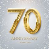 70th Anniversary Celebrating golden text and confetti on light blue background. Vector celebration 70 anniversary event royalty free stock photo