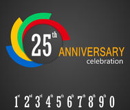 25th Anniversary celebration background, 25 years anniversary card illustration Stock Photo