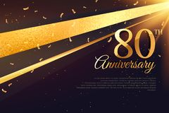 80th anniversary celebration card template. Vector vector illustration