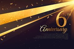 6th anniversary celebration card template Royalty Free Stock Photos