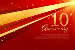 10th anniversary celebration card template. Vector Stock Photos