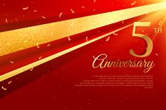 5th anniversary celebration card template Royalty Free Stock Photography