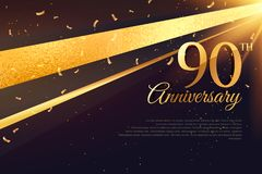 90th anniversary celebration card template. Vector Stock Photos