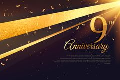 9th  anniversary celebration card template Royalty Free Stock Photography