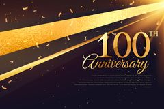 100th anniversary celebration card template. Vector stock illustration