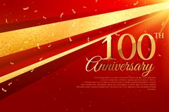 100th anniversary celebration card template. Vector Royalty Free Stock Photos