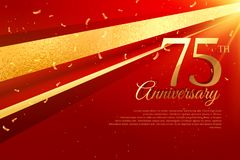 75th anniversary celebration card template Royalty Free Stock Images