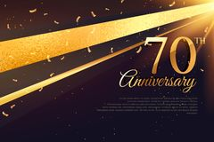 70th anniversary celebration card template Royalty Free Stock Image