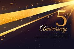 5th anniversary celebration card template. Vector Royalty Free Stock Photos