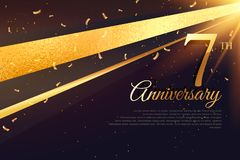 7th anniversary celebration card template Royalty Free Stock Photography