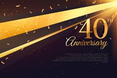40th anniversary celebration card template Stock Photos