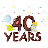 40th Anniversary Celebration Design, with flowers Stock Photos
