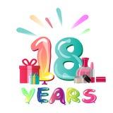 18th Anniversary Celebration Design, with gift box. Vector illustration Stock Illustration