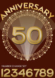 50th anniversary celebration in elegant golden frame. Golden number 50, set of numbers one, two, three, four, six, seven, eight, n. Ine for change. Universal Stock Photography