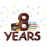 8th Anniversary celebration, with gift cake. Vector illustration Royalty Free Stock Image