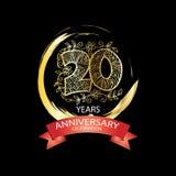 20th anniversary celebration logo. Emblem, stamp, card Stock Photography