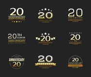 20th anniversary celebration logo set. 20 year jubilee banner. Vector illustration stock illustration
