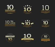 10th anniversary celebration logo set. 10 year jubilee banner. Vector illustration Royalty Free Stock Image