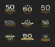 50th anniversary celebration logo set. 50 year jubilee banner. Vector illustration Royalty Free Stock Photo