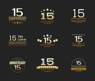 15th anniversary celebration logo set. 15 year jubilee banner. Vector illustration vector illustration