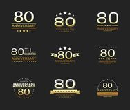80th anniversary celebration logo set. 80 year jubilee banner. Vector illustration Vector Illustration