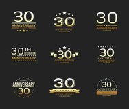 30th anniversary celebration logo set. 30 year jubilee banner. Vector illustration Royalty Free Stock Image