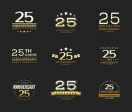 25th anniversary celebration logo set. 25 year jubilee banner. Vector illustration Royalty Free Stock Photo