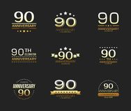 90th anniversary celebration logo set. 90 year jubilee banner. Vector illustration vector illustration