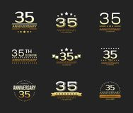 35th anniversary celebration logo set. 35 year jubilee banner. Vector illustration Royalty Free Stock Image