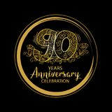 90th anniversary celebration logo. Emblem, stamp, card vector illustration