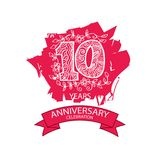 10th anniversary celebration logo. Emblem, stamp, card royalty free illustration