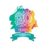 20th anniversary celebration logo. Emblem, stamp, card Royalty Free Stock Photos