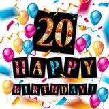 20th anniversary celebration logotype. Anniversary logo with balloon in white rectangle. Vector design for celebration, birthday, party, festival, invitation Stock Photos