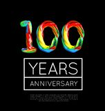 100th Anniversary, congratulation for company or person on black background. Vector illustration Royalty Free Stock Images