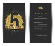 5th anniversary decorated greeting card template. Vector royalty free illustration